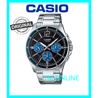 (ORIGINAL+1YR WARRANTY) CASIO MTP-1374D-2A MEN MULTIHAND CASUAL WATCH