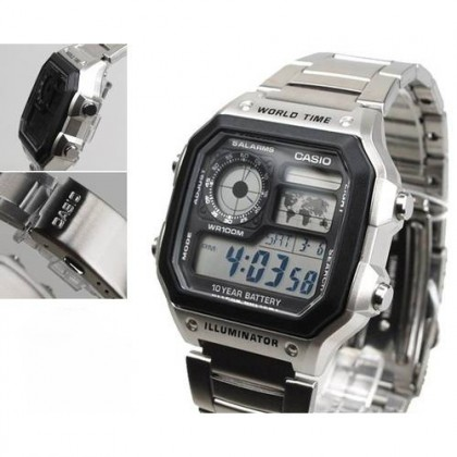 (ORIGINAL+1YR WARRANTY) CASIO AE-1200WHD-1A MEN'S DIGITAL CASUAL STEEL WATCH