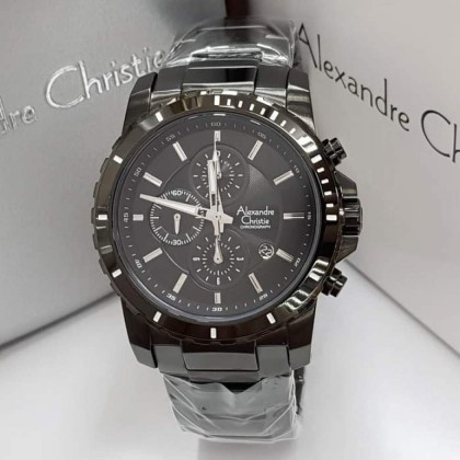 Alexandre Christie ORIGINAL 6141 MEN'S CHRONOGRAPH STEEL- INTERNATIONAL WARRANTY